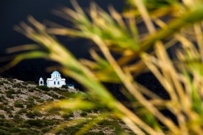 A lone church on Ikaria, Greece