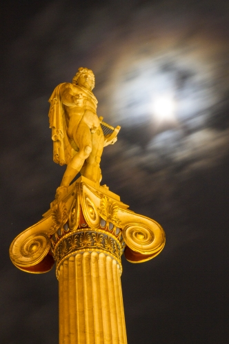 Apollo on a full moon night in Athens, Greece